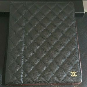 Chanel Quilted Caviar Leather Tablet Case